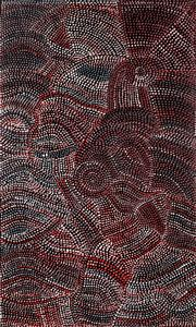 Sale 8998A - Lot 5084 - Joy (Petyarre) Pitjara (1962 - ) - Yam Seed Dreaming 108 x 67 cm (stretched and ready to hang)