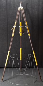 Sale 8984H - Lot 24 - A wombat hollow standard lamp repurposed from a brown and yellow surveyors tripod and oversized tapering metal shade frame. Height o...