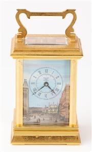 Sale 9080F - Lot 51 - A BRASS CARRIAGE CLOCK; with enamel face, eleven jewel movement &  with key