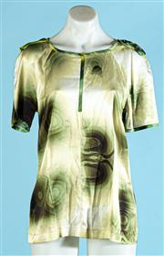 Sale 9090F - Lot 51 - A LISA HO SILK T-SHIRT; featuring a green and gold ombre water drop design all over, size 10