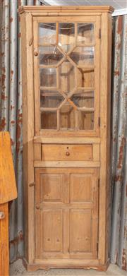 Sale 9060H - Lot 42 - An antique pine corner unit of one piece, the glazed astragal door revealing two internal shelves over a central door and lower pane...