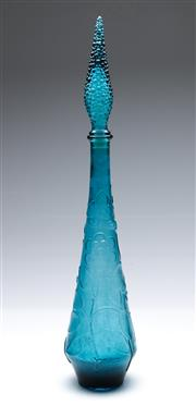 Sale 9090 - Lot 15 - A Blue Glass Genie Bottle H: 40cm