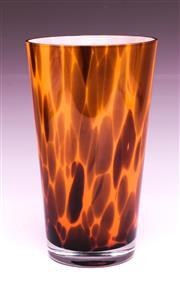 Sale 9081 - Lot 93 - Cased Studio Tortoiseshell Pattern Glass Vase (H:25cm)