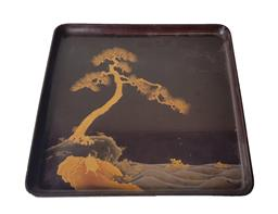 Sale 9093P - Lot 20 - Meiji Lacquer Tray with Gilt Pine and Tortoise, 29 x 29cm.