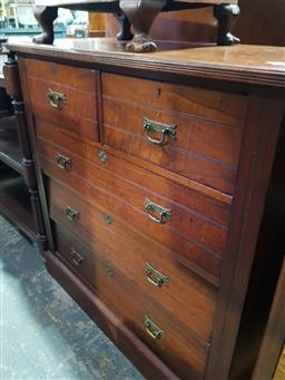 Sale 9097 - Lot 1091 - Late 19th Century Cedar Chest of Five Drawers, with reeded sides & plinth base (H:103 W:103 D:45cm)