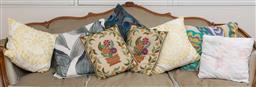 Sale 9140H - Lot 95 - A collection of throw cushions including a peacock feather design example.