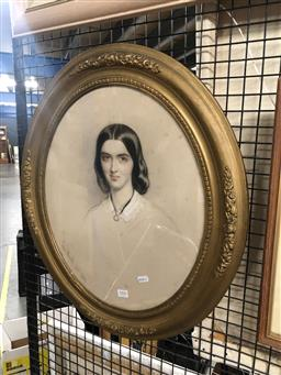 Sale 9152 - Lot 2090 - Edmund Havell Portrait of a Lady, 1862 pastel on paper, frame: 58 x 50 (oval), signed lower left -