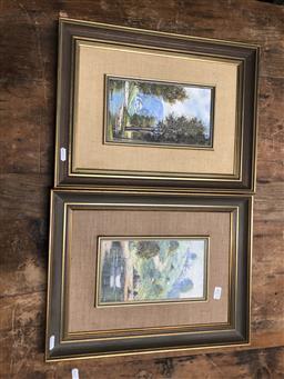 Sale 9152 - Lot 2072 - Alex Steuerwald (2 works) Moored Boat and Hillside Cottages; MacDonalds Creek oils on board, 43 x 33cm, each (frames ) each signed