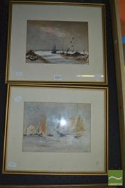 Sale 8425T - Lot 2024 - George Frame (XX) (2 works) - Nautical Scenes 33 x 37cm, each (frame size)