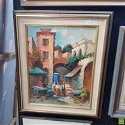 Sale 8636 - Lot 2027 - De Leo - Spanish Street Scene Oil on canvas SLL 48 x 38cm