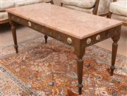 Sale 8908H - Lot 75 - A pair of French Napoleon X style gilt painted coffee tables with pink marble tops and porcelain rondels. Height 48cm x Width 96cm x...