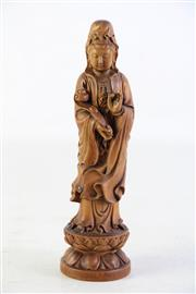 Sale 8935D - Lot 634 - A Craved Chinese Boxwood Figure of Guanyin Holding A Ruyi (H 21cm)