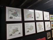 Sale 8978 - Lot 2084 - Set of (8) Maps of C19th England, offset lithographs, 48 x 53cm, each (frame)