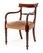 Sale 9015J - Lot 30 - A traditional Australian cedar colonial style elbow chair C: Mid 1900s. The shaped bar back onto ring turned shaped arms. The back ...