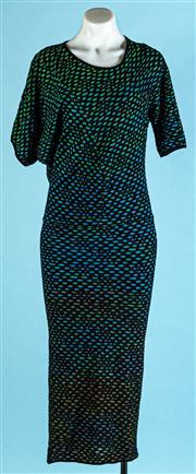 Sale 9090F - Lot 63 - A MISSONI MAXI TUBE DRESS; featuring two different 3/4 sleeves in a knitted black, blue and green fish scale pattern, size 38/8