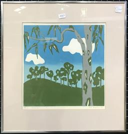 Sale 9103 - Lot 2003 - Gai Mather Gumtrees linocut ed. A/P of 1/3 49 x 47cm, signed