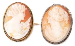 Sale 9124 - Lot 363 - TWO VINTAGE CAMEO BROOCHES; oval carved shell cameos each depicting a female portrait, set in silver and gold plated frames, sizes 3...