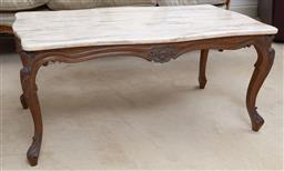 Sale 9140H - Lot 96 - A rectangular marble topped coffee table with carved floral apron over carved cabriole legs, Height 44cm x Width 98cm x Depth 52cm