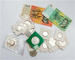 Sale 9144 - Lot 96 - A collection of early Australian notes ($22) and coins incl shillings and florin
