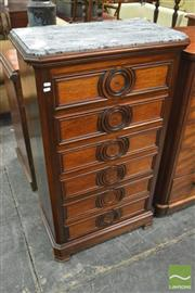 Sale 8390 - Lot 1001 - Mid-19th Century French Rosewood Chest of Six Drawers, with grey marble top & applied moulding
