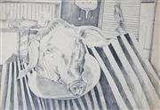 Sale 8410A - Lot 5005 - Anne Hall (1945 - ) - Untitled, 1969 (Still Life - Pigs Head) 70 x 101cm (sheet size)