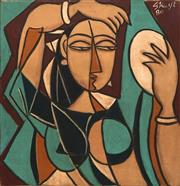 Sale 8692 - Lot 564 - George Keyt (1901 - 1993) - Woman with Mirror, 1980 64.5 x 65.5cm