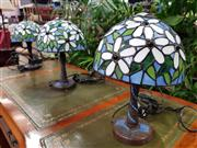 Sale 8744 - Lot 1037 - Set of 3 Leadlight Shade Table Lamps