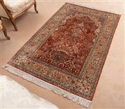 Sale 8908H - Lot 76 - A Persian vase carpet in orange tones, wool and silk blend. 120cm x 180cm