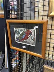 Sale 8936 - Lot 2046 - Jude Shanahan - Young Crimson Rosella, Hand Painted Linocut, SLR