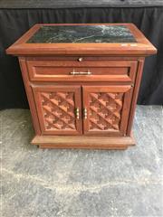 Sale 9006 - Lot 1064 - Marble Top Bedside Cabinet (h:65 x w:61 x d:46cm)