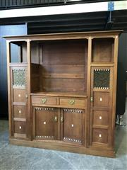 Sale 9056 - Lot 1001 - Arts and Crafts oak robe with ebony and ivory inlay (h:200 x w:202 x d:50cm)