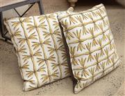 Sale 9060H - Lot 44 - A PAIR OF GOOD QUALITY LINEN CUSHIONS WITH BAMBOO DESIGN. 41 CM SQUARE