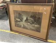 Sale 9082 - Lot 2046 - Jean Clark Horseman Returning Home, watercolour and wash, frame: 63 x 82 cm, signed lower right