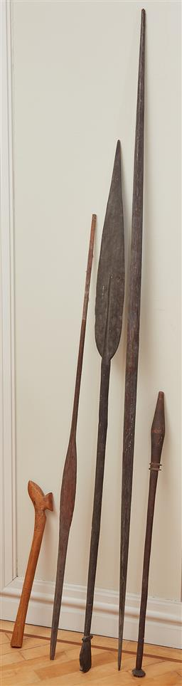Sale 9098H - Lot 98 - A collection of tribal spears, tallest 2m