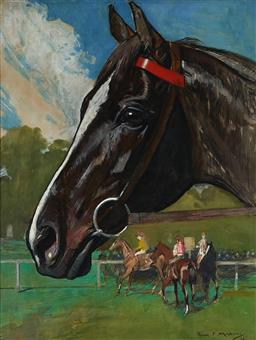 Sale 9141 - Lot 565 - Frank Mahony (1862 - 1916) Head of a Champion (The Racehorse Poseidon) watercolour and gouache 56 x 43.5 cm (frame: 70 x 57 x 3 cm...