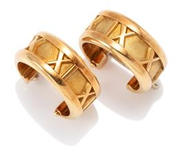 Sale 9160 - Lot 365 - A PAIR OF 18CT GOLD TIFFANY & CO ATLAS HOOP EARRINGS; 7mm wide hoops with Roman numerals to lever fittings, length 15mm, wt. 10.50g.