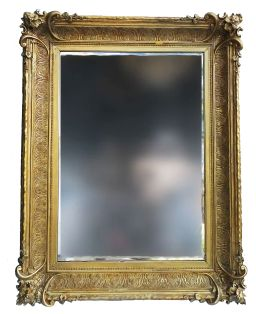 Sale 9150J - Lot 49 - A large antique gilt framed bevelled edge wall mirror - overall size 133 x 103 cm