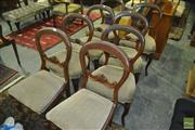 Sale 8375 - Lot 1004 - Set of Eight Victorian Balloon Back Dining Chairs
