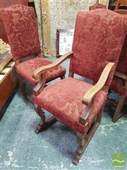 Sale 8416 - Lot 1080 - Set of Eight Carved Oak Renaissance Style Dining Chairs, incl. two armchairs, the camel backs with red cut-moquette upholstery, on l...