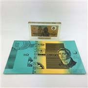 Sale 8618 - Lot 49 - Australian Bicentennial $10 Note in perspex, together with Uncut Sheet of $10 Notes ($40) in Note Printing Australia display