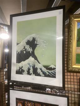 Sale 9111 - Lot 2059 - Decorative print by Kozyndan Wave of Rabbits after Hokusai, frame: 72 x 57 cm,