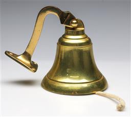 Sale 9173 - Lot 49 - A Cast Brass Wall Mounted Ships Bell , (H:15cm)