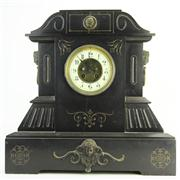 Sale 8387 - Lot 59 - Japy Frères Black Slate Mantle Clock