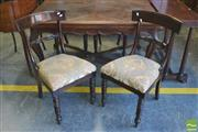 Sale 8390 - Lot 1078 - Set of Four George IV Mahogany Rail Back Chairs, with drop-in cut moquette upholstery & turned legs