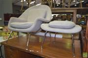 Sale 8390 - Lot 1147 - Reproduction Womb Upholstered Retro Armchair & Matching Foot Stool