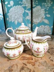 Sale 8500A - Lot 63 - A vintage style floral porcelain teapot, sugar & creamer set - Condition: As New - Measurements: Teapot 23cm wide x 13cm high, Cream...
