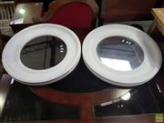 Sale 8601 - Lot 1428 - Pair of Round White Painted Bevelled Edge Mirrors