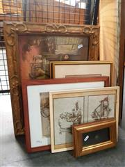Sale 8671 - Lot 2093 - 6 Works: Douglas Annand - Self Portrait, The Goat 1948; The Crump Essex 1950, pen on paper, SLR with 4 Other Framed Works