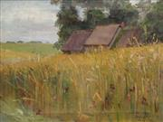 Sale 8722 - Lot 589 - G. P Morison - Country Fields and Cottage, 1891 31 x 39.5cm