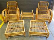 Sale 8984 - Lot 1040 - Cane Five Piece Outdoor Setting incl. Pair of Armchairs, Pair of Footstools & Another - No Cushions (Armchair - H:85 x W:72 x D:90cm)